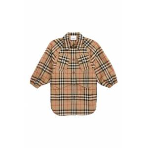Burberry Girl's Burberry Teigan Check Print Jacket, Size 14Y - Beige