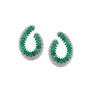 Hueb Women's Hueb Mirage Diamond & Emerald Hoop Earrings