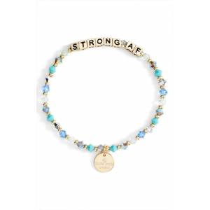 Pro-Ject Women's Little Words Project Strong Af Beaded Stretch Bracelet