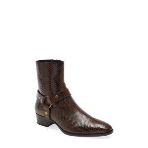 Saint Laurent Men's Saint Laurent Mid Heel Genuine Python Leather Boot, Size 12US - Brown