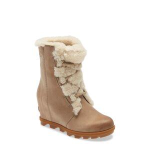 SOREL Women's Sorel Joan Of Arctic(TM) Wedge Ii Genuine Shearling Lace-Up Boot, Size 7.5 M - Beige