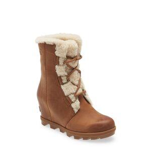 SOREL Women's Sorel Joan Of Arctic(TM) Wedge Ii Genuine Shearling Lace-Up Boot, Size 7 M - Beige
