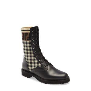 Fendi Women's Fendi Ff Gingham Sock Lace Up Boot, Size 9.5US - Black