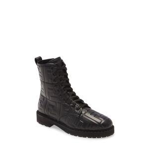 Fendi Women's Fendi Ff Embossed Logo Combat Boot, Size 5US - Black