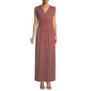 Max Studio Women's Pinstripes Shirred-Waist Jumpsuit - Black - Size L  Black  female  size:L