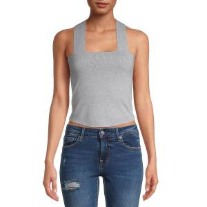 Allison New York Women's Squareneck Cropped Tank Top - Grey - Size S  Grey  female  size:S