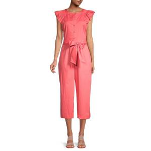 Gal Meets Glam Women's Belted Cropped Jumpsuit - Watermelon - Size 6  Watermelon  female  size:6