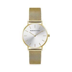BCBGMAXAZRIA Women's Classic Goldtone Braided Stainless Steel Bracelet Watch  Silver  female  size:one-size