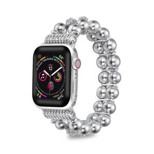 Posh Tech Faux Pearl Apple Watch Replacement Band - Silver - Size 42-44mm  Silver  female  size:42-44mm