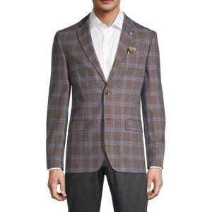 Ben Sherman Men's Standard-Fit Overcheck Sportcoat - Brown Blue - Size 44 R  Brown Blue  male  size:44 R
