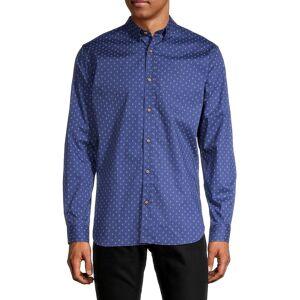 Ben Sherman Men's Flower-Print Shirt - Blue Depth - Size M  Blue Depth  male  size:M