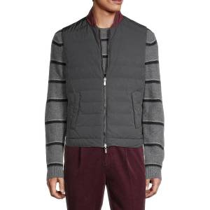 Brunello Cucinelli Men's Reversible Baseball-Collar Vest - Charcoal - Size M  Charcoal  male  size:M