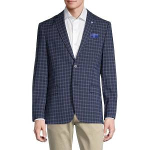 Ben Sherman Men's Stretch-Fit Check Sportcoat - Navy - Size 38 R  Navy  male  size:38 R
