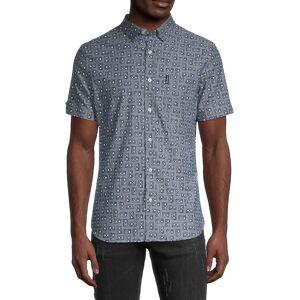 Ben Sherman Men's Cassette Tape-Print Regular-Fit Shirt - Chambray - Size S  Chambray  male  size:S