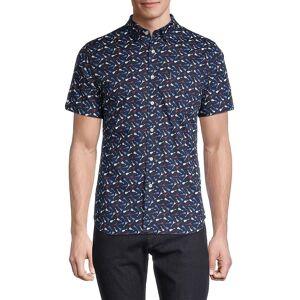 Ben Sherman Men's Slim-Fit Guitar-Print Shirt - Navy - Size S  Navy  male  size:S