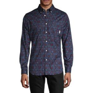 Ben Sherman Men's Conversational Floral-Print Classic-Fit Shirt - Port Royal - Size M  Port Royal  male  size:M