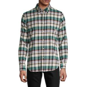 Ben Sherman Men's Plaid Stretch-Fit Shirt - Forest - Size S  Forest  male  size:S