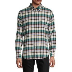 Ben Sherman Men's Plaid Stretch-Fit Shirt - Forest - Size L  Forest  male  size:L