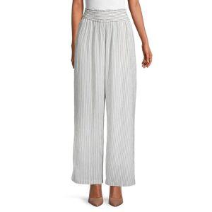 sundays Women's Striped Smocked Pants - Grey - Size 2 (M)  Grey  female  size:2 (M)