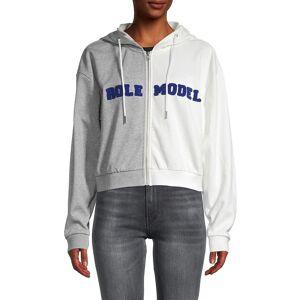Cynthia Rowley Women's Role Model Colorblock Cropped Cotton Sweatshirt - Grey White - Size M  Grey White  female  size:M