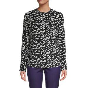 Boss Hugo Boss Women's Printed Long-Sleeve Silk Top - Black Multi - Size 18  Black Multi  female  size:18