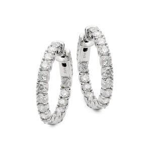 Diana M Jewels Women's 14K White Gold & 3 TCW Diamond Hoop Earrings  White Gold  female  size:M