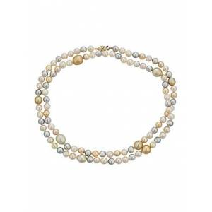 BELPEARL 14K Yellow Gold, 7-13MM Multicolor Akoya & South Sea Pearl Necklace