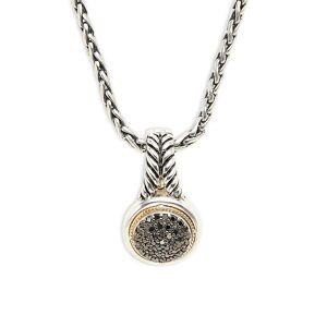 "Effy Women's Sterling Silver, 14K Yellow Gold & 0.32 TCW Black Diamond Pendant Necklace/17""  Black  female  size:one-size"