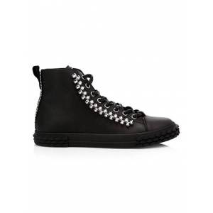 Giuseppe Zanotti Blabber Studded Leather High-Top Sneakers size: 47 (14)[Men]; NERO