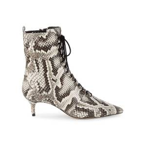Alexandre Birman Women's Millen Python-Print Leather Kitten-Heel Booties - Natural Black - Size 36 (6)  Natural Black  female  size:36 (6)