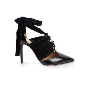 Valentino Garavani Strappy Velvet & Leather Lace-Up Pumps size: 35.5 (5.5)[Women]; NERO