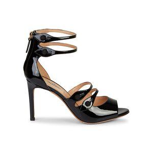 Valentino Garavani Button-Strap Patent Leather Sandals size: 40.5 (10.5)[Women]; LIPSTICK