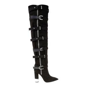 Giuseppe Zanotti Women's Crudela Suede Over-The-Knee Buckle Boots - Nero - Size 7.5  Nero  female  size:7.5
