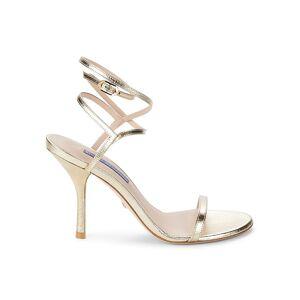 Stuart Weitzman Women's Merinda Leather Stiletto Sandals - Gold - Size 5  Gold  female  size:5