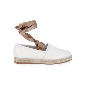 Santoni Women's Ankle-Tie Leather Flats - White - Size 39 (9)  White  female  size:39 (9)