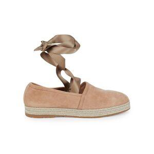 Santoni Women's Self-Tie Suede Flats - Pink - Size 37 (7)  Pink  female  size:37 (7)