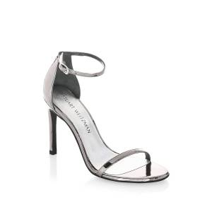 Stuart Weitzman Women's Nudistsong Patent Leather Sandals - Black Patent - Size 10  Black Patent  female  size:10