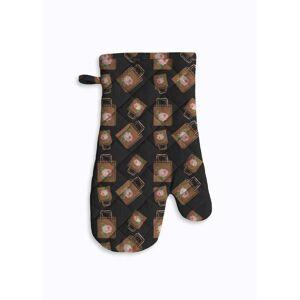 Violetheavensky Oven Mitt & Potholder - Shopping Bag Pattern Blac in Brown/Green/Red by Violetheavensky Original Artist  - Size: Round Potholder