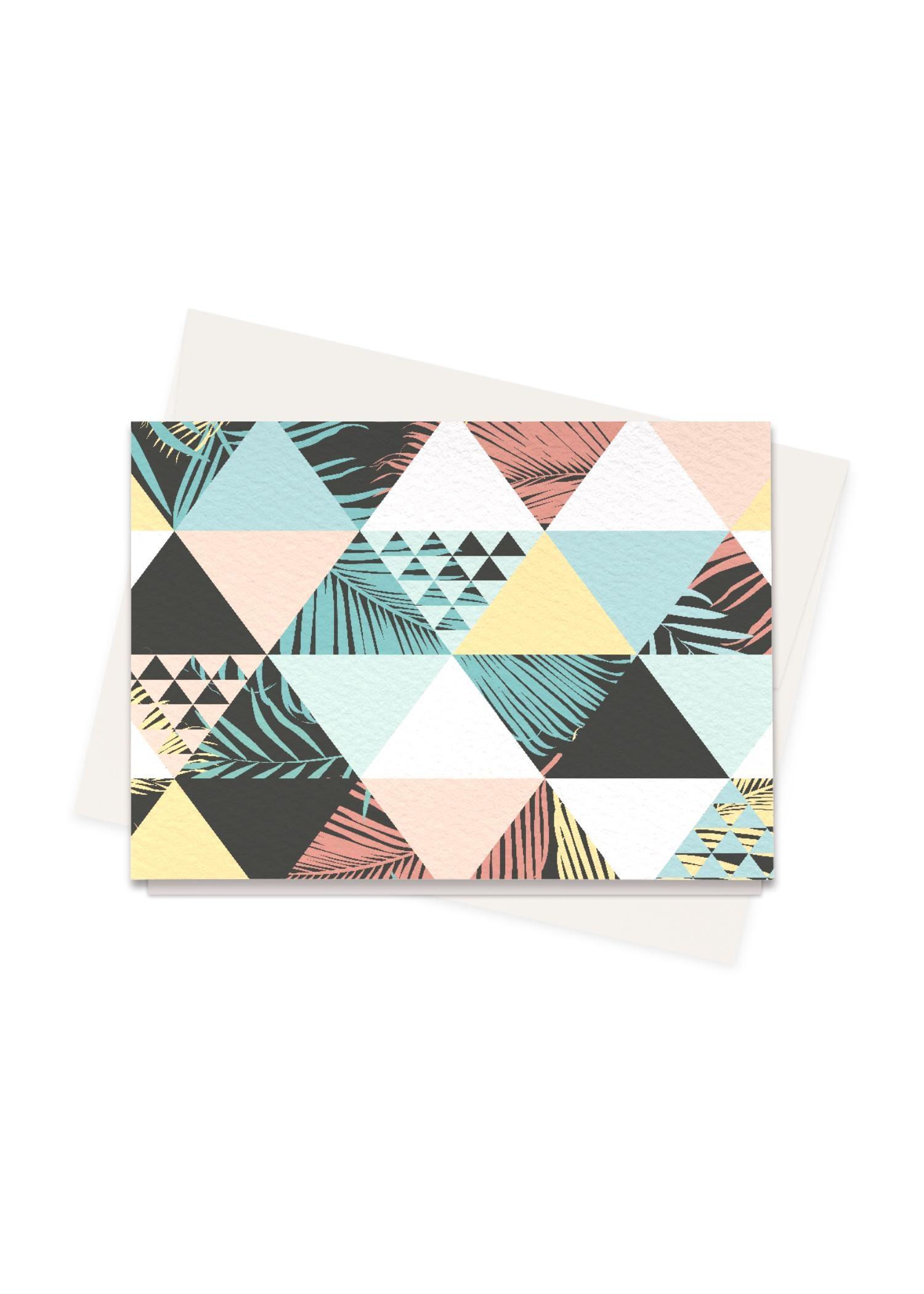 VIDA Greeting Cards Set - Beach Patchwork in Blue/Brown/Red by VIDA Original Artist  - Size: Set of 8