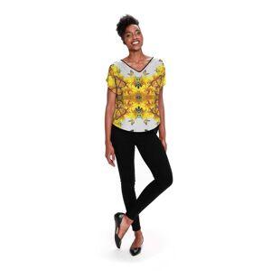 VIDA Women's V-Neck Top - Sunflower Butterflies in Brown/White/Yellow by VIDA Original Artist  - Size: Black / 1X