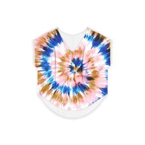 Always Seek Women's V-Neck Top - Tie Dye Pink Blue 20 in Blue/Brown/Pink by Always Seek Original Artist  - Size: White / 2X