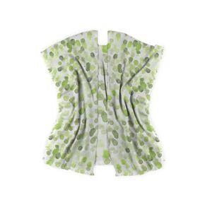 VIDA Wool Poncho Wrap - Watercolor Drop Sap Green in Green/White/Yellow by VIDA Original Artist  - Size: Regular