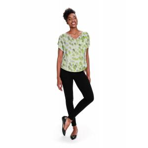 VIDA Women's V-Neck Top - Watercolor Drop Sap Green in Green/White/Yellow by VIDA Original Artist  - Size: Grey / 2X
