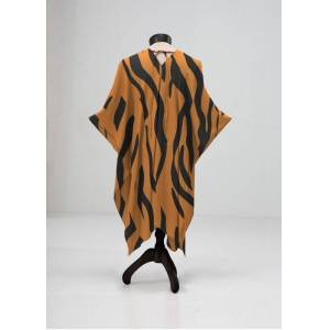 VIDA Sheer Wrap - Wild Zebra in Brown/Orange by VIDA Original Artist  - Size: Plus
