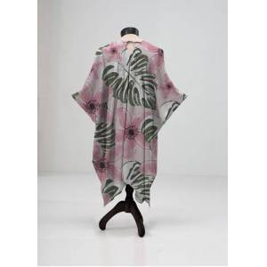 VIDA Sheer Wrap - Pink Wild Flower in Brown/Pink/Purple by VIDA Original Artist  - Size: Regular