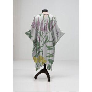 VIDA Sheer Wrap - Elegant Wild Flowers in Green/White/Yellow by VIDA Original Artist  - Size: Plus