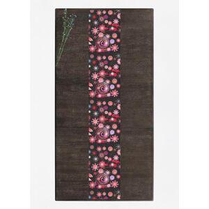 VIDA Table Runner - Dancing Flowers Dark I in Black/Brown/Pink by VIDA Original Artist  - Size: Long