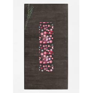 VIDA Table Runner - Dancing Flowers Dark I in Black/Brown/Pink by VIDA Original Artist  - Size: Short
