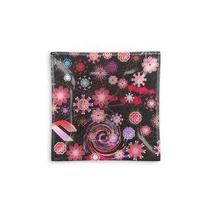 VIDA Square Glass Tray - Dancing Flowers Dark I in Black/Brown/Pink by VIDA Original Artist  - Size: Large