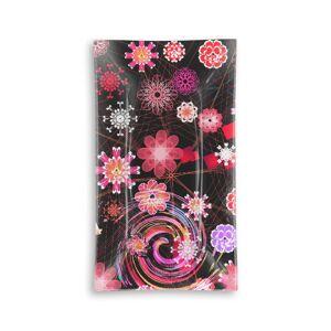 VIDA Oblong Glass Tray - Dancing Flowers Dark I in Black/Brown/Pink by VIDA Original Artist  - Size: Large
